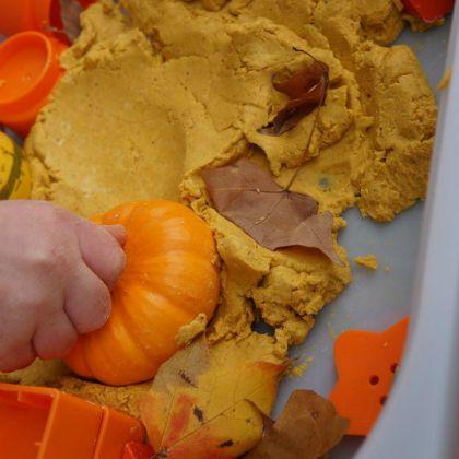 Fall Pumpkin Play Dough Bin (Wildflower Ramblings)