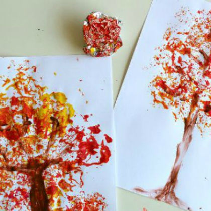 Foil Printed Fall Tree (Munchkins and Moms)