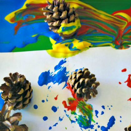 Painting with Pinecones (Parenting Chaos)