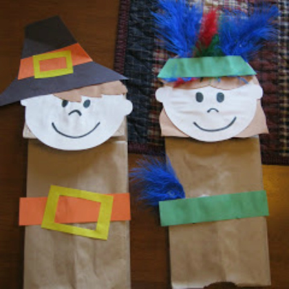Thanksgiving bag puppets