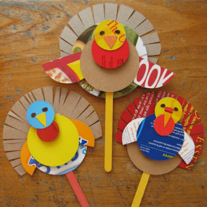 cereal box turkey stick puppets