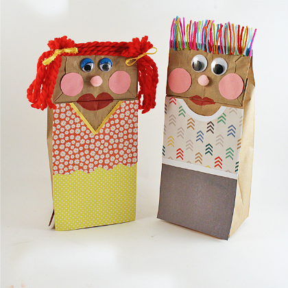 classic paper bag puppets