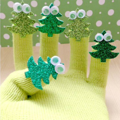 five little christmas tree finger puppets