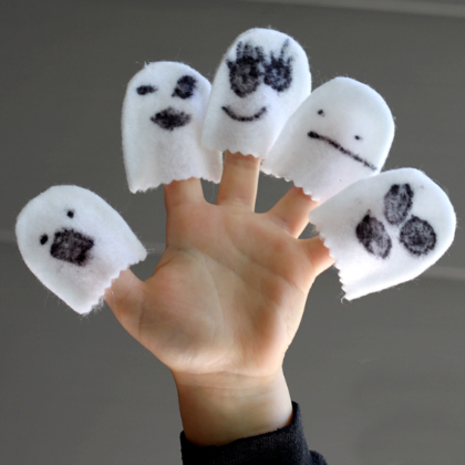 no sew finger ghost puppets
