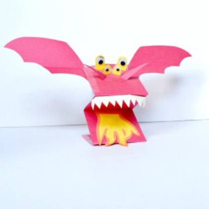 paper bag dragon puppet