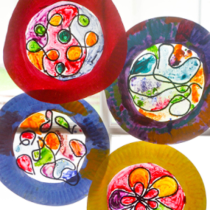 paper plate stained glass