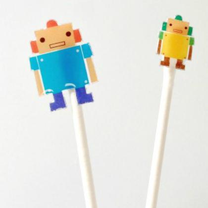 sticker stick puppets