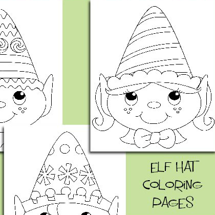 elf hat coloring pages