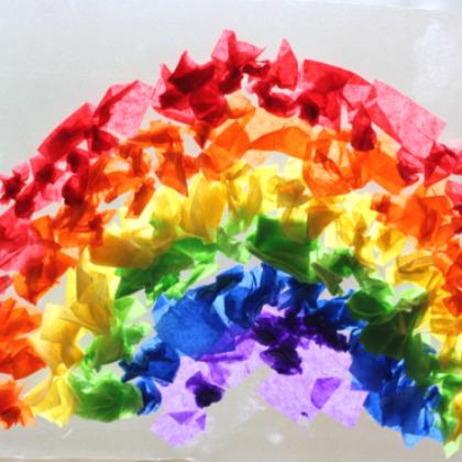 tissue paper rainbow suncatcher
