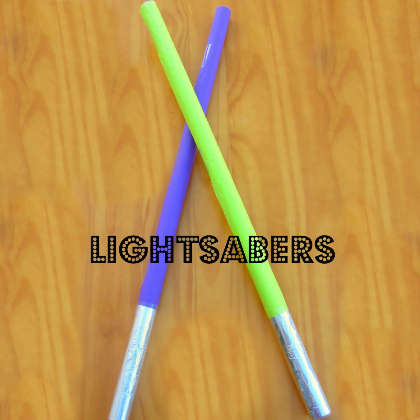 wrapping paper roll light sabers