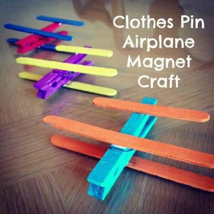 clothes pin airplane magnet