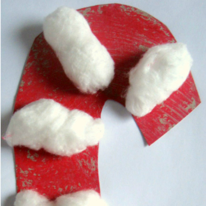 cotton ball candy canes