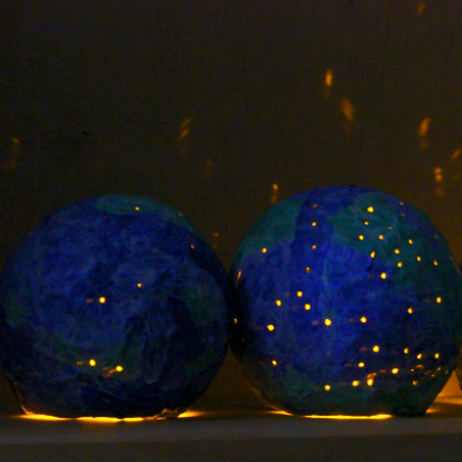 glowing paper mache earth