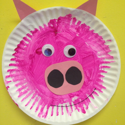 painted paper plate pig