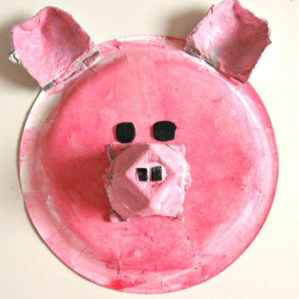 paper plate and egg carton pig craft