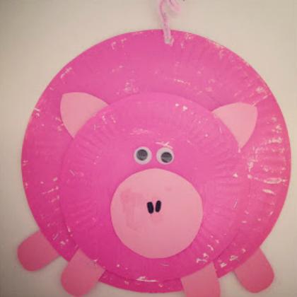 paper plate piggy