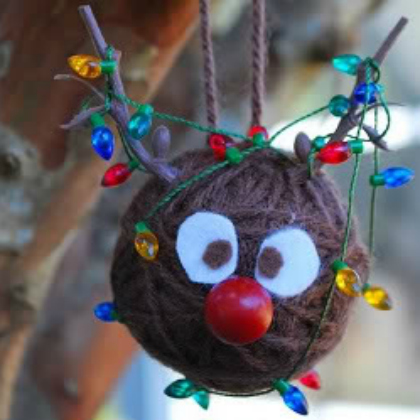 reindeer yarn ball ornament