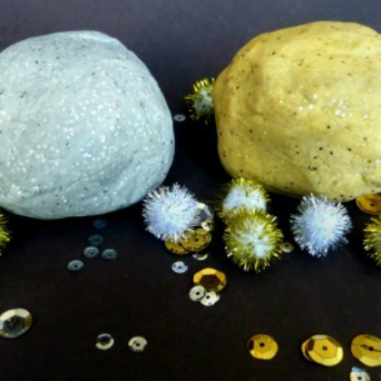 silver and gold dough