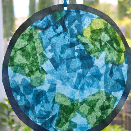 stained glass planet earth