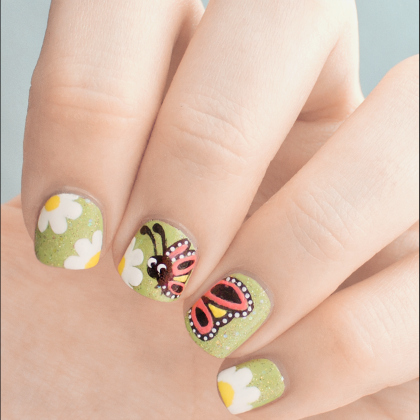 lady bug with flowers