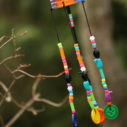 coffee can, beads, and buttons