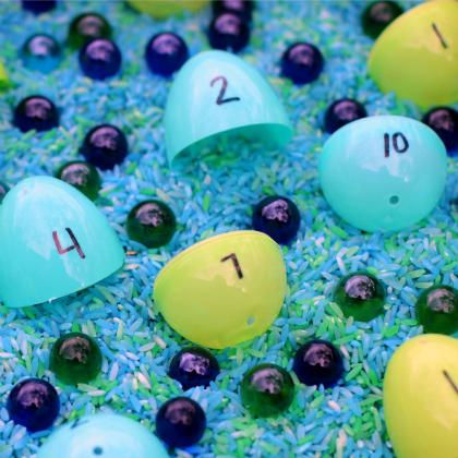 earth counting sensory bin