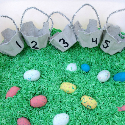 easter sensory counting bin