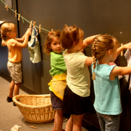 hanging laundry pretend play