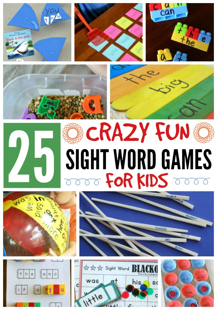 Collection of 25 Crazy Fun Sight Word Games For Preschoolers, Kindergartners and First & Second Graders