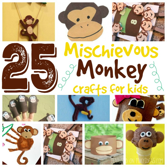 25 Mischievous Monkey Crafts for Kids Featured