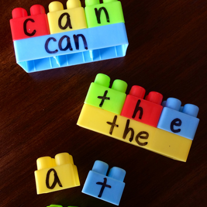 build a sight word with letter matching on Duplo blocks