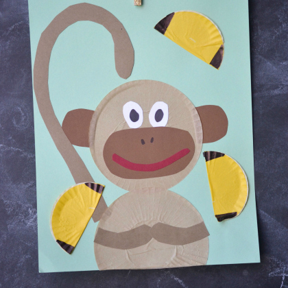 cupcake liner monkey & 25 Mischievous Monkey Crafts For Kids