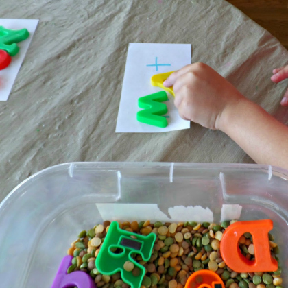 sensory word building game using I Spy fun