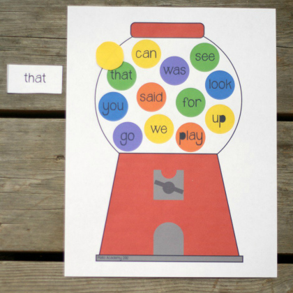 free printable - sight word gumball game