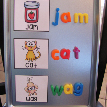 sight word magnetic letters on cookie sheet magnetic board