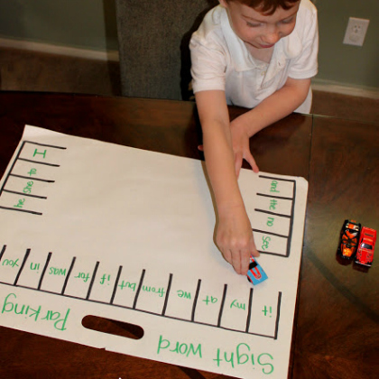 sight word parking lot activity set up