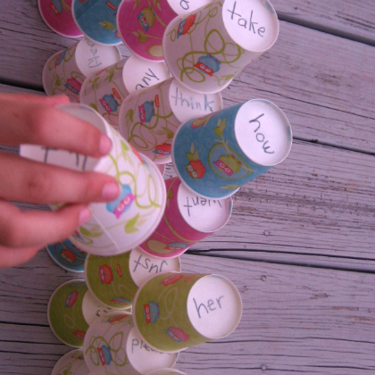 word stacking cups for sight word challenge