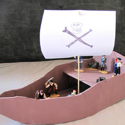 paper mache pirate ship