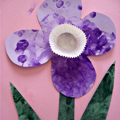 purple cupcake liner flower