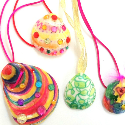 kid decorated shell necklaces