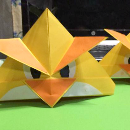 folded paper birds