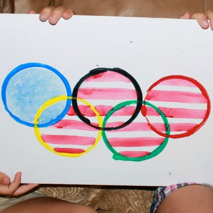 US Olympic rings flag