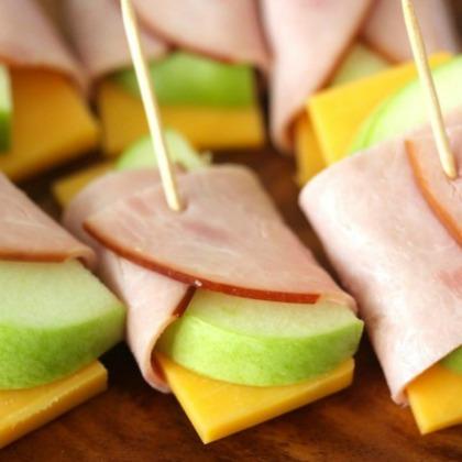 apple, cheddar, ham