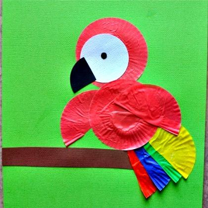 cupcake liner parrot