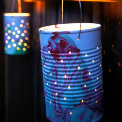 marbled tin can luminaries