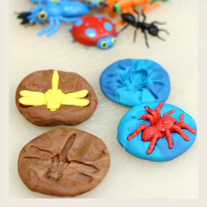 play dough bug fossils