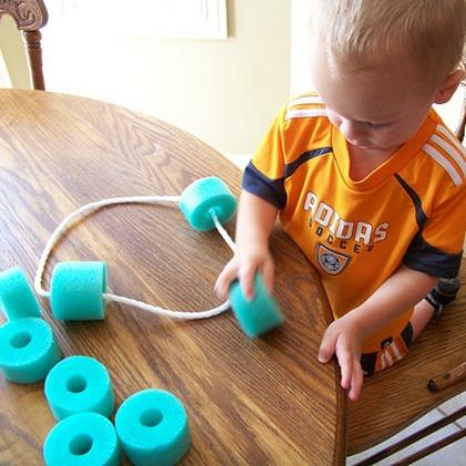 pool noodle stringing