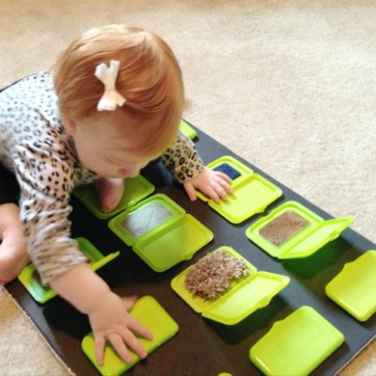 sensory board with lids
