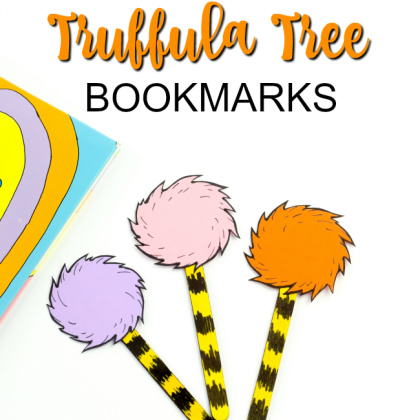 Truffula Tree bookmark craft for kids from Kids Activities Blog - shown are three truffula tree bookmarks next to a Seuss book