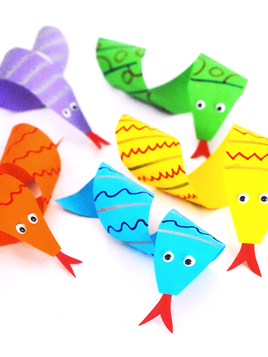 paper curl snakes in purple, orange, blue green and yellow